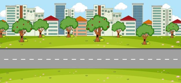 Leere parklandschaftsszene mit hauptstraße