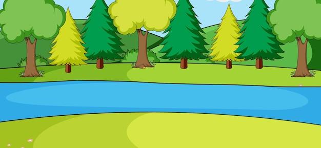 Leere parklandschaftsszene mit vielen bäumen und fluss