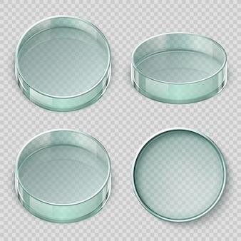 Leere petrischale aus glas. biologielaborteller-vektorillustration lokalisiert auf transparentem