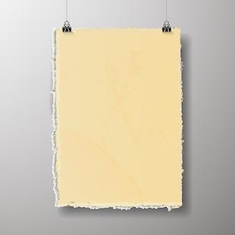 Leere plakatvorlage. ein plakat, ein stück papier an der wand. werbebanner-layout des messestandes, leere seite der billboard-bilder zum drucken