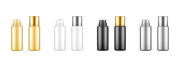 Leere plastik-rollflaschen-set für serum, creme, ätherisches öl