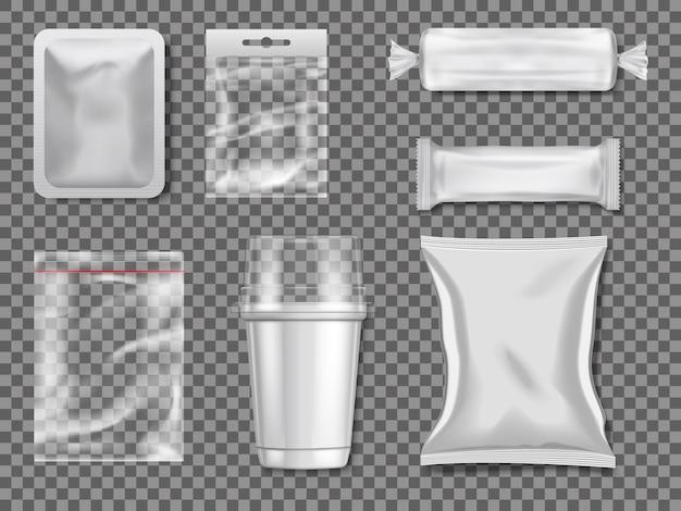 Leere plastik- und transparentverpackungen. illustration des paketplastiks klar und transparent