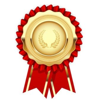 Leere preisvorlage - rosette mit goldener medaille