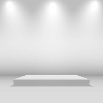 Leere quadratische bühne mit lichtern