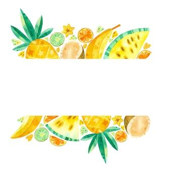 Leere rahmen mit gezeichneter illustration der tropischen früchte hand. sommerfrüchte mischen. leerer rahmen.