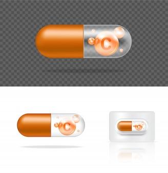 Leere realistische transparente pille vitamin c medizin kapsel panel. tablets medizin- und gesundheitskonzept.