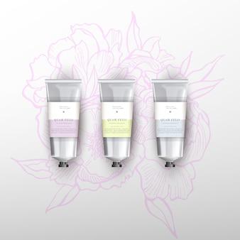 Leere realistische tube für kosmetika. blumen pfingstrosen illustration