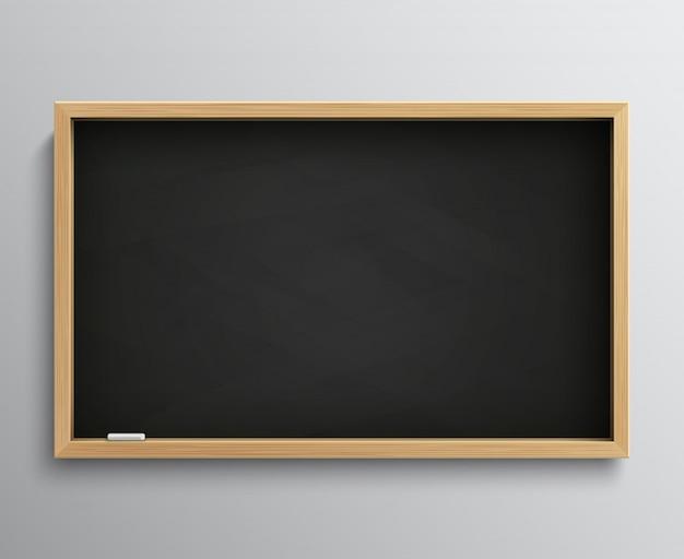 Leere retro- klassentafel mit kreidestücken. leere schwarze tafelvektorillustration für bildungskonzept. tafel für die schule, tafel für das klassenzimmer