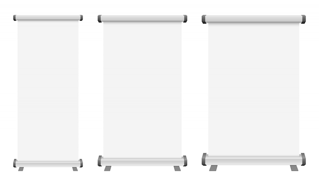 Leere roll-up-bannerillustration auf weißem hintergrund
