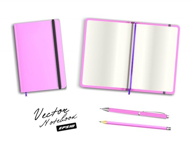 Leere rosa offene und geschlossene heftschablone mit gummiband und lesezeichen. realistischer briefpapierrohling rosa stift und bleistift. notizbuchillustration lokalisiert auf weißem hintergrund.