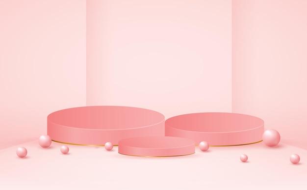 Leere rosa podium-produktstufenschablone