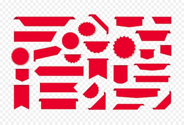 Leere rote tags, preisschilder und banner. lesezeichen und ausweisvorlagen. gestaltungselement der webseite