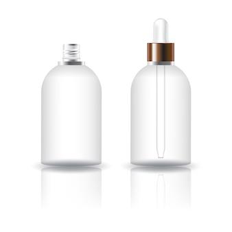 Leere runde kosmetische flasche mit weißem tropfendeckel.