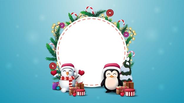 Leere runde weihnachtsschablone für ihren text verziert mit weihnachtsbaumzweigen, süßigkeiten und girlanden