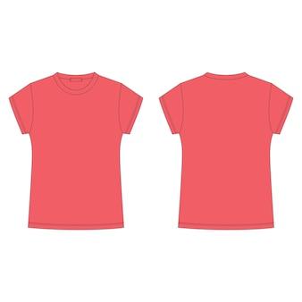 Leere schablone des t-shirts in der roten farbe lokalisiert auf weißem hintergrund.