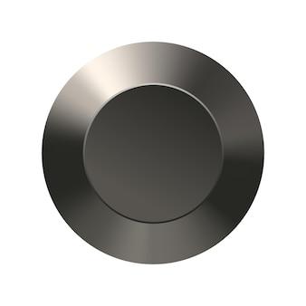 Leere schaltflächenvorlage mit metallstruktur für benutzeroberflächenanwendungen chrom-aluminium-textur