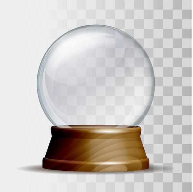 Leere schneekugel. magische glaskugel auf holzsockel isoliert auf weißem hintergrund. vektor-illustration eps 10