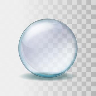 Leere schneekugel. realistische transparente glaskugel