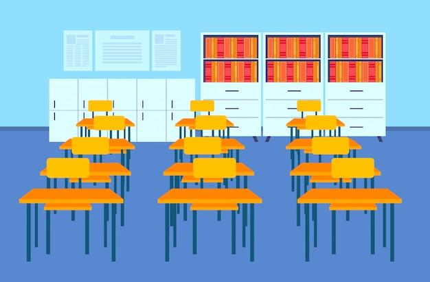 Leere schule klassenzimmer innenraum moderne klassenzimmer schreibtische bücherregale möbel horizontal