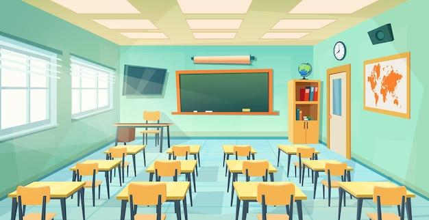 Leere schulklassenzimmerinnentafel. cartoon bildung hintergrund. bildungskonzept. college- oder universitätsschulungsraum mit tafel, tisch, schreibtischen, stühlen. vektorillustration in einem flachen stil