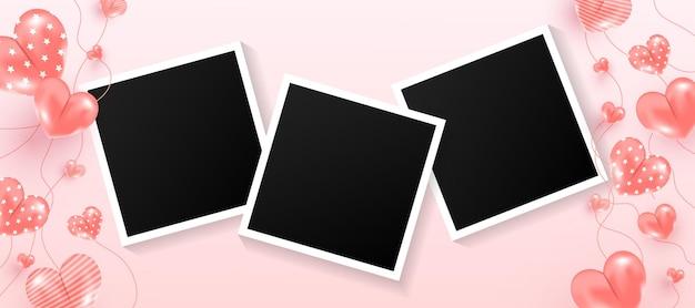 Leere schwarze fotorahmen mit süßer herzform