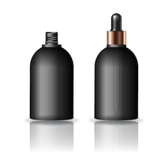Leere schwarze runde kosmetische flasche mit tropfendeckel für schönheit oder gesundes produkt.