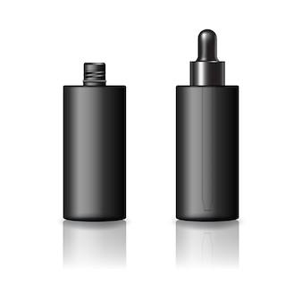 Leere schwarze zylinderkosmetikflasche mit schwarzer tropfdeckelmodellvorlage. isoliert auf weißem hintergrund mit reflexionsschatten. gebrauchsfertig für verpackungsdesign. vektor-illustration.