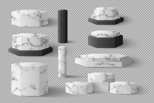 Leere sechskantblock-marmorschablone mit schatten gesetzt. konzept podium bühne showcase