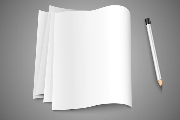 Leere seiten, seiten papier mit einem stift