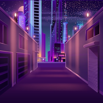 Leere seitenstraßenkarikatur der nachtstadt
