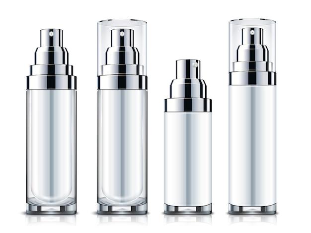 Leere sprays gesetzt, silber und weiße kosmetikbehälterschablone lokalisiert auf weißem hintergrund in der illustration