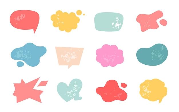 Leere sprechblase und clowd im handgezeichneten stil für text und nachricht