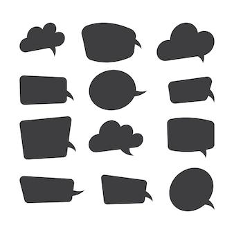 Leere sprechblasen der schwarzen karikatur, denkendes ballon gesetzt auf weißem hintergrund. illustration.