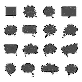 Leere sprechblasen im modernen vintage-stil. dialog und botschaft, denken und kommunikation, gespräch web cloud denken,