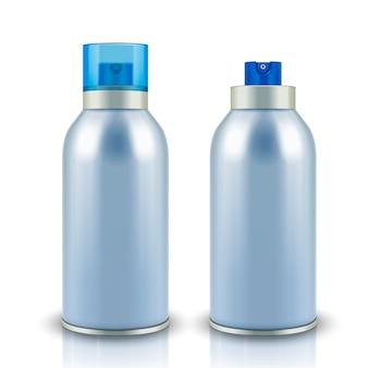 Leere sprühflaschen im 3d-stil auf weißer oberfläche