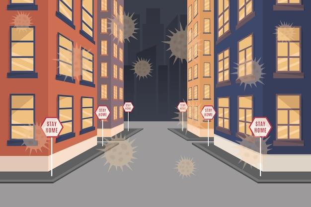 Leere stadt coronavirus-pandemie