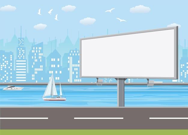 Leere städtische big board oder anschlagtafel mit lampe.