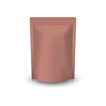 Leere stehende reißverschlusstasche aus kupfer.