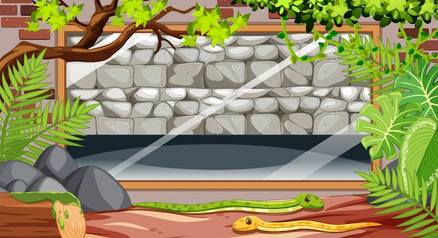 Leere steinmauer in der zooszene mit schlangen