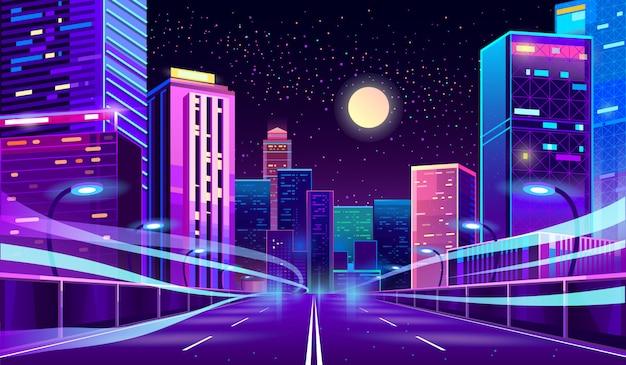 Leere straße in megapolis in der nacht