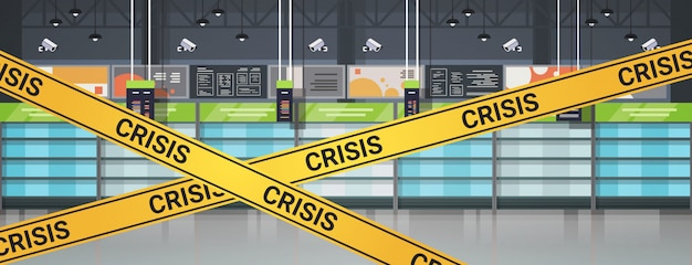 Leere supermarktregale mit gelbem krisenband-coronavirus-pandemie-quarantänekonzept