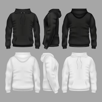 Leere sweatshirt-hoodie-schwarzweiss-vektorschablonen. abbildung des sweatshirts mit hoodie