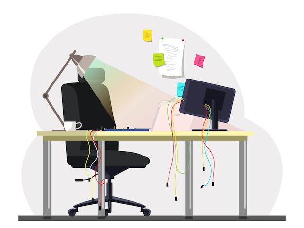 Leere sysadmin büroraumarbeitsplatz mit computerkabeltastatur auf schreibtisch bequeme stuhlerinnerung bunte aufkleber hängen an der wand