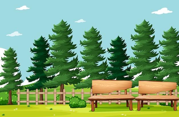 Leere szene des naturparkpicknicks