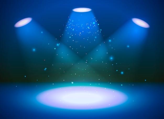 Leere szene mit drei scheinwerfern auf blauem hintergrund