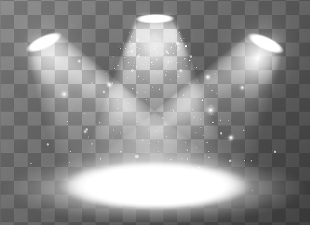 Leere szene mit drei scheinwerfern auf transparentem hintergrund