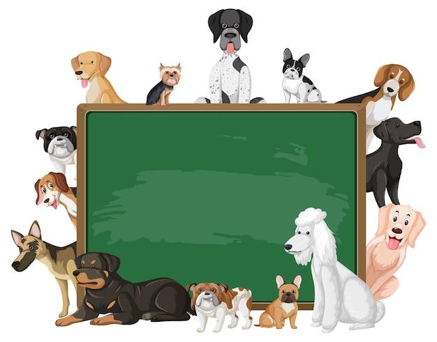 Leere tafel mit verschiedenen hunderassen