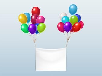 Leere Textilfahne, fliegend mit bunten glänzenden Ballonen