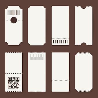 Leere tickets. konzerttheater oder flugzeug leere papiertickets, film einen gutschein zulassen. lotterie isoliert 3d s