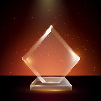 Leere transparente acrylglas-trophäen-preisvorlage im leuchtenden hintergrund